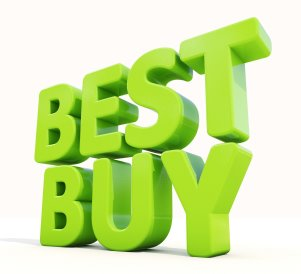 Picture of the words Best Buy in green 3d lettering